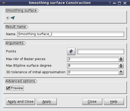 SALOME Geometry User's Guide: Smoothing Surface