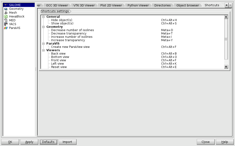 SALOME GUI User's Guide: Setting Preferences